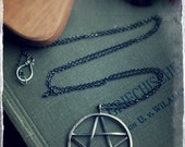 Large pentagram, hand forged sterling silver pentacle, woven pentagram pendant, Magick amulet talisman, Wiccan jewellery,
