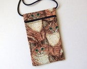 CAT Zip Bag Pouch - Cell Phone Pouch. Great for walkers, markets, travel. Small fabric Purse. Cats on Tan Cream fabric
