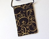 Pouch Zip Bag Gold on BLACK Fabric - great for walkers, markets, travel. Cell Phone Pouch. Black Evening purse. small fabric sling pouch