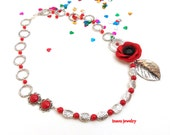 Red Necklace, Flower Necklace, Poppy, Poppy Jewelry, Red Jewelry, Romantic Jewelry, Handmade Necklace, Gift For Her, Red Poppy, Floral