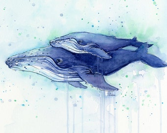 Humpback Whale Mom and Baby Watercolor Print, Whale Art, Whale Painting, Sea Creatures, Nursery Art Print, Whale Calf, Whale Wall Art