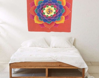 Summer sale 20%Off coupon code: SUMMERSALE2017   Wall hanging, Hand Painted Batik Lotus Om, yoga decoration boho bohemian room meditation