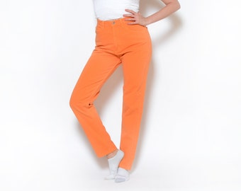 Vintage 80's Orange GUESS High Waisted Jeans Sz 34W
