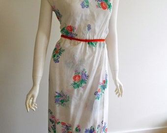 1970s Cotton Asian Inspired Dress 14 Au