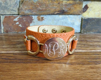 Southwest Orange Leather Monogram Bracelet w/ Gold Disc- Initial Bracelet- Gifts for Women