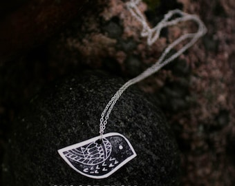 Graphic Print Bird Necklace Custom. 12 colors. Made in Finland. Stamped Polymer Clay. MADE TO ORDER
