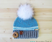 Rustik hat. Light gray, turquoise and cream woman crochet winter hat with buttons and fur pompom by Akroche Tatuk (made to order)