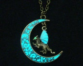Moon And Dragon Necklace Glow In The Dark Dragon And Moon Necklace Pendant Jewelry Antique Bronze (glows aqua blue)