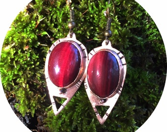 Tigers Eye and Copper Earrings Egyptian Tribal Metal