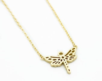"Tiny Gold ""Dragonfly"" Necklace Animal Necklace - Dainty, Simple, Birthday Gift, Wedding Bridesmaid Gift"