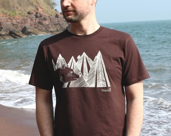 Organic Mens 'Mountain Bear'  T-shirt hand screen printed with eco-friendly inks. Featuring a mountain bear in front of a mountain range.