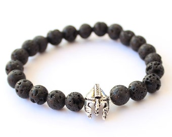 Helmet gladiator bracelet, Spartan bracelet, Men's bracelet, lava stone bracelet, bracelet for men, gift for him