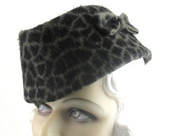 Art Deco 1930s Ride in Your Breezer Long Hair Animal Print Cadet Hat This is a Custom Order