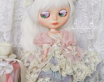 Pastel Butterfly OOAK handmade dress set for blythe azone pure neemo m doll clothing clothes size kawaii romantic style