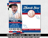 BASEBALL TICKET INVITATIONS Birthday Party + Bonus Thank You Card - Modern Design - (print your own) Personalized Printable Sports Files