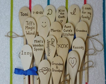 4 Wooden Spoons Thank You Party Cooking Baking Showers Events Favors Gifts Personalized Custom Engraved Text, Wood burned