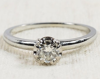 Vintage Classic 18K White Gold 0.33ct Round Diamond VS2/H Solitaire Engagement Ring Size 7 – 2.4 grams FREE SHIPPING!
