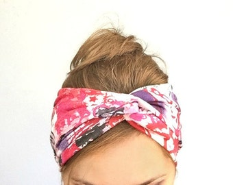 Graffiti twist headband turban colorful headwrap beach headband cotton yoga headband twisted center hair band for women for fitness running