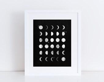 Moon Phases Art Print - Home Decor - Minimal Home - Scandi Style Art - Luna Phases - Moon Art - Luna Print