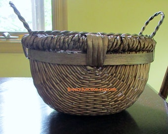 Basket, Woven Basket with Wire Frame Top, Primitive Folk Decor, Brown & Gold Oval Shaped, Large Sturdy Basket ~ BreezyJunction.etsy.com