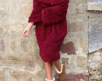 Maxi Dress / Midi Dress with Sleeves / Winter Dress/ Shift Dress / Womens Plus Size Clothing