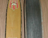 Wooden Skis Vintage Northland Monarch with Ebonite Bottoms Steel Edge Skis with Bindings