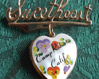 Sweetheart Pin with Mother of Pearl Photo Heart Vintage Military Souvenir