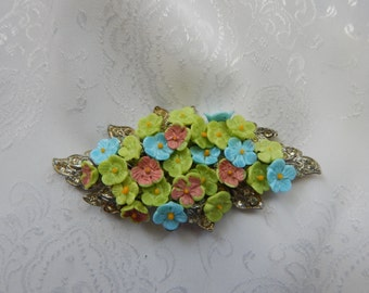 1940's Vintage French Floral Rhinestone Brooch
