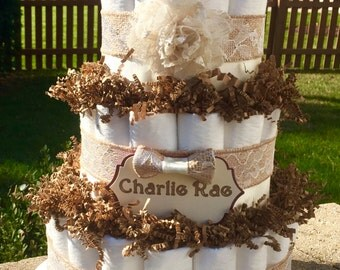Diaper Cake - Burlap Shabby Chic/Vintage Ivory & Lace Baby Girl Baby Shower Diaper Cake