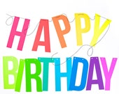 Letter Banner, Happy Birthday in Neon & Bright Colors