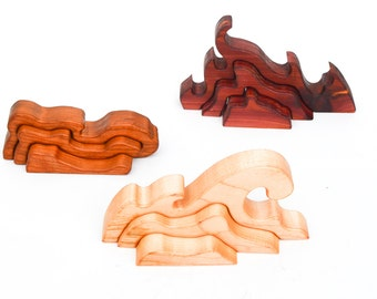 Three Elements - Water, Fire and Earth - Three-Dimensional Wooden Puzzle & Unique Building Blocks