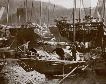 Chinese Junks Boats Fishing Fleet and Pagoda of Chiaolinsz 1920's Photo Print Black White Photo Wall Decor Hong Kong