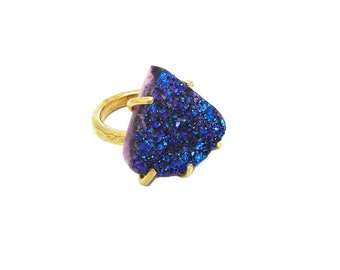 Druzy Ring, Titanium Druzy Ring, Drusy Ring in Claw Setting