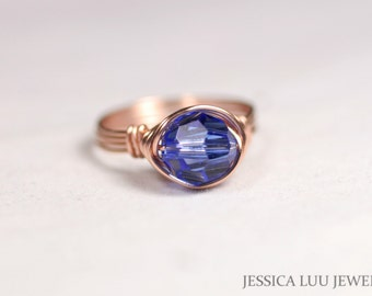 Rose Gold Sapphire Ring Wire Wrapped Jewelry Swarovski Crystal Ring Rose Gold Ring Blue Ring Swarovski Crystal Jewelry September Birthstone