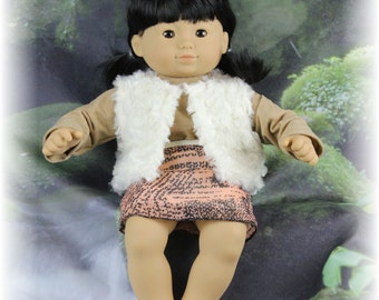 Suede shirt, Faux Fur Jacket and Silk Skirt for AG Dolls