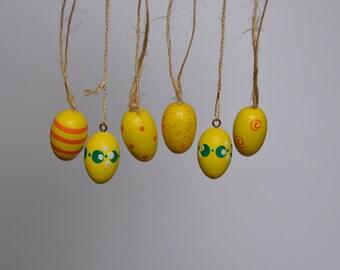 Yellow Vintage German Easter Egg Ornaments. Vintage German. Authentic. Original. Y-5