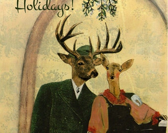 Holiday Deer Card or Card Set | Holiday Love Card | Mistletoe Unique Newlywed Christmas Card | Illustrated Holiday Stationery Set