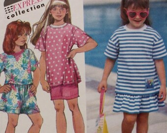 Girls Tops Shorts Skirt Sewing Pattern Simplicity 7739 Size 2-4