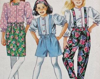 Girls Blouse /Pants /Shorts  /Skirt with Suspenders Sewing Pattern /Simplicity 7540 / UNCUT