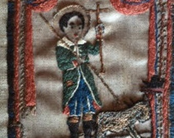 Spanish Colonial Hand Embroidery Santos Pilgrim Badge Needlework Fiber Arts Folk Art