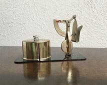 Stamp Dispenser with Letter Postal Scale, Brass Finish, Retro Office Decor, Desk Accessory, Japan