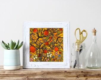 Autumn Monarch Butterflies Art Print - Butterfly Kitchen Decor - Original Fine Art Print Mustard Yellow Butterflies with Autumn Apple