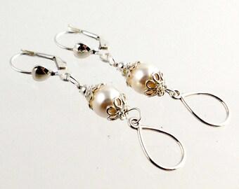 Sterling Silver and White Tear Drop Earrings, Gifts, Wedding Jewelry, Dressy Earrings, Career Wear, Fashion Jewelry