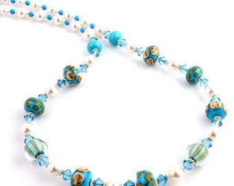 Blue and White Crystal Beaded Lampwork Art Glass Necklace, Fashion Jewelry, Lampwork Jewelry, Easter, Mother's Day