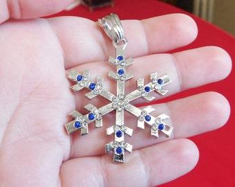 Snowflake Necklace , Large Snowflake Pendant , Christmas Gift , Holiday Necklace