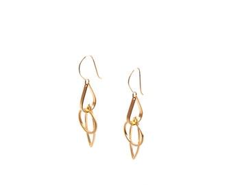 Drop Earrings, Dangle Earrings,Tear Earrings, Gold Long Earrings, Modern Earrings, Bohemian Chic Earrings
