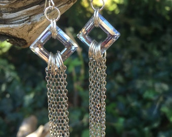 Swarovski and Chain Earrings