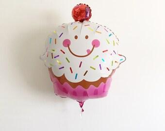 FREE SHIPPING Sprinkle Happy Cupcake jumbo mylar balloon