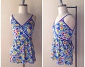 1980s Bright Floral One Piece Swimsuit with Attached Skirt, Cute Swimsuit, Poppy by Lanz, Vintage Swimsuit, Size Small