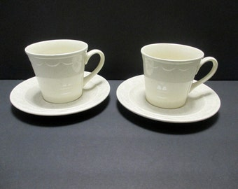 Homer Laughlin Sheffield Granada Speckled White Pattern - Cup and Saucer - Set of 2 - Hard to Find